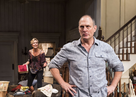Melora Hardin (background) and David Bishins in Branden Jacobs-Jenkins' 'Appropriate' at the Mark Taper Forum.
