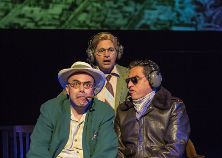 (L–R) Herbert Siguenza, Ric Salinas and Richard Montoya in Culture Clash's 'Chavez Ravine: An L.A. Revival' at the Kirk Douglas Theatre.