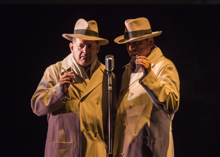 Ric Salinas and Richard Montoya in Culture Clash's 'Chavez Ravine: An L.A. Revival' at the Kirk Douglas Theatre.
