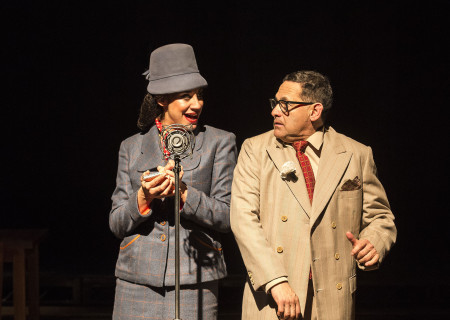 (L–R) Sabina Zuniga Varela and Ric Salinas in Culture Clash's 'Chavez Ravine: An L.A. Revival' at the Kirk Douglas Theatre.