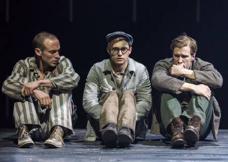 (L–R) Charlie Hofheimer, Andy Mientus and Patrick Heusinger in Martin Sherman's 'Bent' at the Mark Taper Forum.