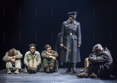 (L–R) Charlie Hofheimer, Andy Mientus and Patrick Heusinger, Brionne Davis and Matthew Carlson in Martin Sherman's 'Bent' at the Mark Taper Forum.