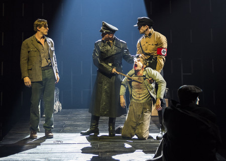(L–R) Patrick Heusinger, Brionne Davis, Andy Mientus and Tom Berklund in Martin Sherman's 'Bent' at the Mark Taper Forum.