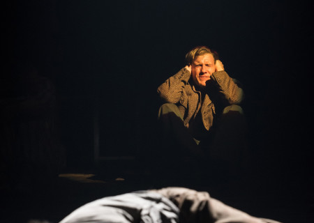 (L–R) Andy Mientus (foreground) and Patrick Heusinger in Martin Sherman's 'Bent' at the Mark Taper Forum.