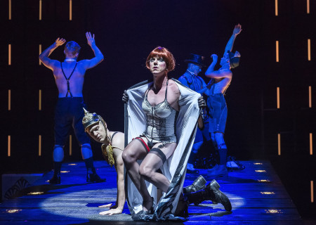 (L–R, Center) Matthew Carlson and Jake Shears; (Background) Jonathan B. Wright, Brionne Davis and Wyatt Fenner in Martin Sherman's 'Bent' at the Mark Taper Forum.
