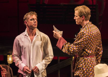 (L–R) Jake Shears and Patrick Heusinger in Martin Sherman's 'Bent' at the Mark Taper Forum.