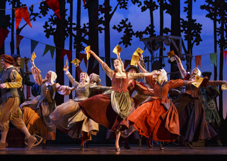 Paige Faure and the cast of the national tour of 'Rodgers & Hammerstein's Cinderella' at the Ahmanson Theatre.
