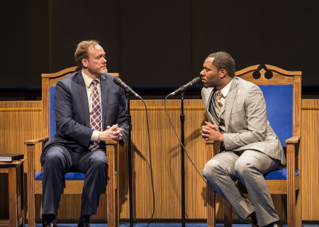 (L–R) Andrew Garman and Larry Powell in 'The Christians' at the Mark Taper Forum.