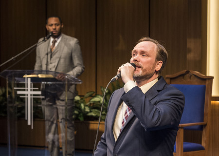 Larry Powell (background) and Andrew Garman in 'The Christians' at the Mark Taper Forum.