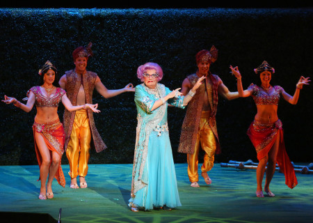 Dame Edna onstage at the Ahmanson Theatre in the Australia/New Zealand tour of 'Eat Pray Laugh! Barry Humphries' Farewell Tour,' adapted for the U.S. as 'Dame Edna's Glorious Goodbye – The Farewell Tour.'