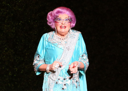 Dame Edna onstage at the Ahmanson Theatre in the Australia/New Zealand tour of 'Eat Pray Laugh! Barry Humphries' Farewell Tour,' adapted for the U.S. as 'Dame Edna's Glorious Goodbye – The Farewell Tour.'<br />