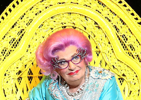 Dame Edna onstage at the Ahmanson Theatre in the Australia/New Zealand tour of 'Eat Pray Laugh! Barry Humphries' Farewell Tour,' adapted for the U.S. as 'Dame Edna's Glorious Goodbye – The Farewell Tour.'<br /> Photo by Matt Jelonek.