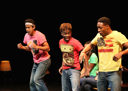 """(L–R) Erick Lopez, Lorenz Arnell and Aaron Jennings in a special DouglasPlus reading of """"Facing Our Truth: Ten-Minute Plays on Trayvon, Race and Privilege"""" at the Kirk Douglas Theatre."""