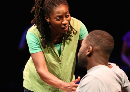"""Ameenah Kaplan and Demetrius Grosse in a special DouglasPlus reading of """"Facing Our Truth: Ten-Minute Plays on Trayvon, Race and Privilege"""" at the Kirk Douglas Theatre."""