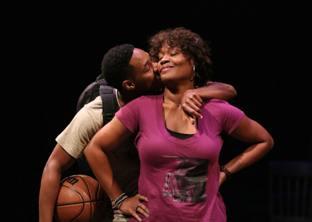 """Aaron Jennings and Deidrie Henry in a special DouglasPlus reading of """"Facing Our Truth: Ten-Minute Plays on Trayvon, Race and Privilege"""" at the Kirk Douglas Theatre."""
