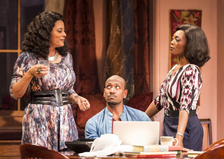 (L–R) Cynda Williams, Bryan Terrell Clark and Shansia Davis in Paul Oakley Stovall's 'Immediate Family,' directed by Phylicia Rashad, playing April 22 through June 7, 2015, at the CTG/Mark Taper Forum. For tickets and information, please visit CenterTheatreGroup.org or call (213) 628-2772. Contact: CTG Media and Communications / (213) 972-7376 / CTGMedia@ctgla.org Photo by Craig Schwartz.