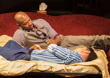 (L–R) Bryan Terrell Clark (above) and Mark Jude Sullivan in Paul Oakley Stovall's 'Immediate Family' at the Mark Taper Forum.