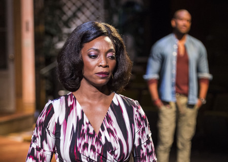 Shansia Davis and (Bryan Terrell Clark in background) in Paul Oakley Stovall's 'Immediate Family' at the Mark Taper Forum.