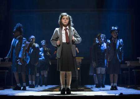Mia Sinclair Jenness and the company of 'Matilda The Musical' in National Tour at the Ahmanson Theatre.<br />