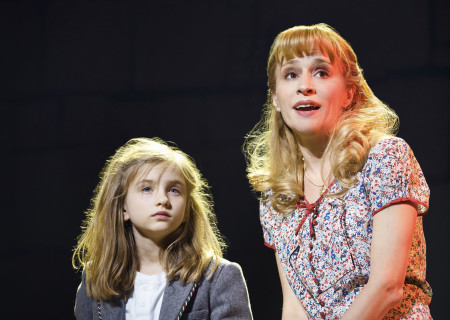 (L-R) Mabel Tyler and Jennifer Blood in the National Tour of 'Matilda The Musical' at the Ahmanson Theatre.<br />