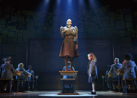 (L-R) Bryce Ryness and Mabel Tyler with the company of 'Matilda The Musical' in the National Tour at the Ahmanson Theatre.<br />