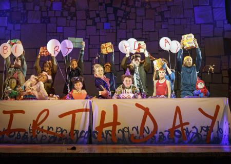 The company of 'Matilda The Musical' in the National Tour at the Ahmanson Theatre.<br />