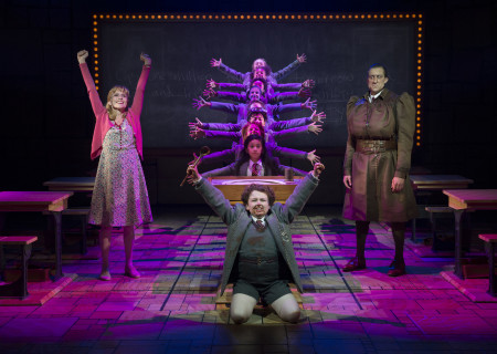 (L-R, Top-Bottom) Jennifer Blood, Gabby Gutierrez, Bryce Ryness, Evan Gray and the company of 'Matilda The Musical' in the National Tour at the Ahmanson Theatre.<br />