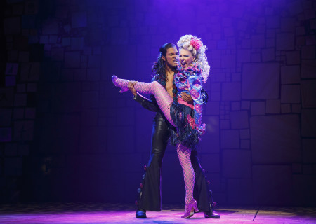 (L–R) Jaquez Andre Sims and Cassie Silva in the National Tour of 'Matilda The Musical' at the Ahmanson Theatre. <br />