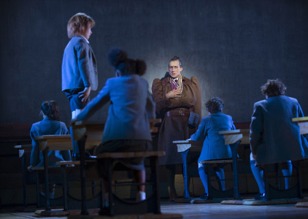 Bryce Ryness and the company of 'Matilda The Musical' in the National Tour at the Ahmanson Theatre.<br />