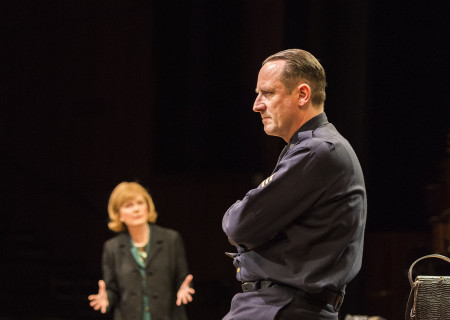 Kate Burton (background) and Sam Robards in Arthur Miller's classic drama 'The Price' at the Mark Taper Forum.