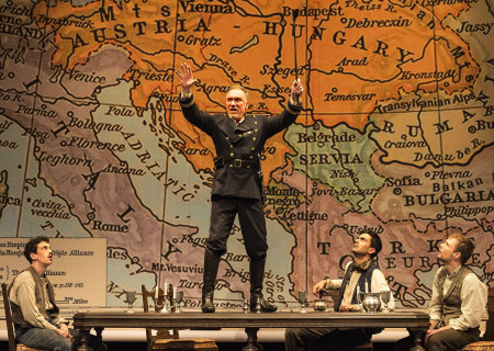 "L-R: Stephen Stocking, Patrick Page, Ramiz Monsef and Josiah Bania in the world premiere of Rajiv Joseph's ""Archduke."" Directed by Giovanna Sardelli, ""Archduke"" plays through June 4, 2017, at the Center Theatre Group/Mark Taper Forum. For tickets and information, please visit CenterTheatreGroup.org or call (213) 628-2772. Media Contact: CTGMedia@ctgla.org / (213) 972-7376. Photo by Craig Schwartz."