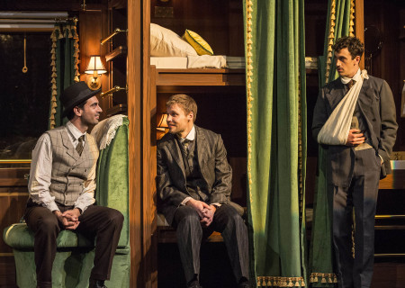 "L-R: Ramiz Monsef, Josiah Bania and Stephen Stocking in the world premiere of Rajiv Joseph's ""Archduke."" Directed by Giovanna Sardelli, ""Archduke"" plays through June 4, 2017, at the Center Theatre Group/Mark Taper Forum. For tickets and information, please visit CenterTheatreGroup.org or call (213) 628-2772. Media Contact: CTGMedia@ctgla.org / (213) 972-7376. Photo by Craig Schwartz."