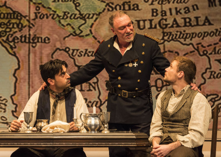 "L-R: Ramiz Monsef, Patrick Page and Josiah Bania in the world premiere of Rajiv Joseph's ""Archduke."" Directed by Giovanna Sardelli, ""Archduke"" plays through June 4, 2017, at the Center Theatre Group/Mark Taper Forum. For tickets and information, please visit CenterTheatreGroup.org or call (213) 628-2772. Media Contact: CTGMedia@ctgla.org / (213) 972-7376. Photo by Craig Schwartz."