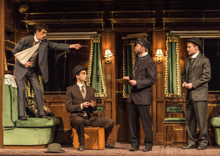 "L-R: Stephen Stocking, Ramiz Monsef, Todd Weeks and Josiah Bania in the world premiere of Rajiv Joseph's ""Archduke."" Directed by Giovanna Sardelli, ""Archduke"" plays through June 4, 2017, at the Center Theatre Group/Mark Taper Forum. For tickets and information, please visit CenterTheatreGroup.org or call (213) 628-2772. Media Contact: CTGMedia@ctgla.org / (213) 972-7376. Photo by Craig Schwartz."