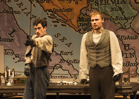 "L-R: Stephen Stocking and Josiah Bania in the world premiere of Rajiv Joseph's ""Archduke."" Directed by Giovanna Sardelli, ""Archduke"" plays through June 4, 2017, at the Center Theatre Group/Mark Taper Forum. For tickets and information, please visit CenterTheatreGroup.org or call (213) 628-2772. Media Contact: CTGMedia@ctgla.org / (213) 972-7376. Photo by Craig Schwartz."