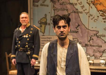 "L-R: Patrick Page and Ramiz Monsef in the world premiere of Rajiv Joseph's ""Archduke."" Directed by Giovanna Sardelli, ""Archduke"" plays through June 4, 2017, at the Center Theatre Group/Mark Taper Forum. For tickets and information, please visit CenterTheatreGroup.org or call (213) 628-2772. Media Contact: CTGMedia@ctgla.org / (213) 972-7376. Photo by Craig Schwartz."