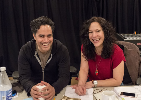 """Playwright Rajiv Joseph and director Giovanna Sardelli in rehearsal for the world premiere of Center Theatre Group's production of """"Archduke."""" Written by Joseph, """"Archduke"""" will play April 25 through June 4, 2017, at the Mark Taper Forum. For tickets and information, please visit CenterTheatreGroup.org or call (213) 628-2772. Media Contact: CTGMedia@ctgla.org / (213) 972-7376. Photo by Craig Schwartz."""