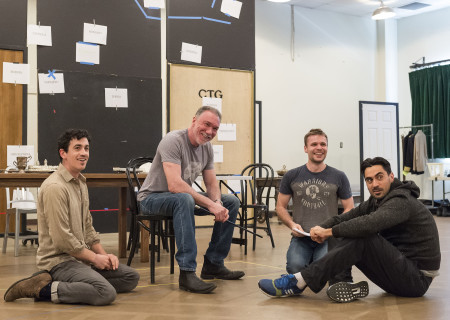 """L-R: Cast members Stephen Stocking, Patrick Page, Josiah Bania and Ramiz Monsef in rehearsal for the world premiere of Center Theatre Group's production of """"Archduke."""" Written by Rajiv Joseph and directed by Giovanna Sardelli, """"Archduke"""" will play April 25 through June 4, 2017, at the Mark Taper Forum. For tickets and information, please visit CenterTheatreGroup.org or call (213) 628-2772. Media Contact: CTGMedia@ctgla.org / (213) 972-7376. Photo by Craig Schwartz."""