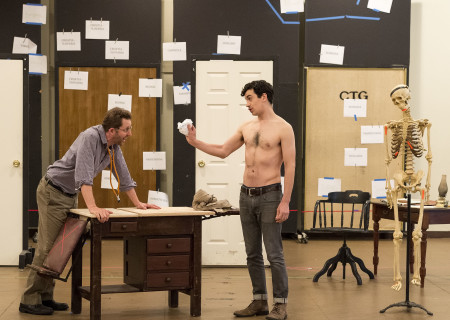 """L-R: Cast members Todd Weeks and Stephen Stocking in rehearsal for the world premiere of Center Theatre Group's production of """"Archduke."""" Written by Rajiv Joseph and directed by Giovanna Sardelli, """"Archduke"""" will play April 25 through June 4, 2017, at the Mark Taper Forum. For tickets and information, please visit CenterTheatreGroup.org or call (213) 628-2772. Media Contact: CTGMedia@ctgla.org / (213) 972-7376. Photo by Craig Schwartz."""
