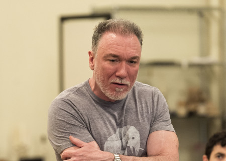 """Cast member Patrick Page in rehearsal for the world premiere of Center Theatre Group's production of """"Archduke."""" Written by Rajiv Joseph and directed by Giovanna Sardelli, """"Archduke"""" will play April 25 through June 4, 2017, at the Mark Taper Forum. For tickets and information, please visit CenterTheatreGroup.org or call (213) 628-2772. Media Contact: CTGMedia@ctgla.org / (213) 972-7376. Photo by Craig Schwartz."""