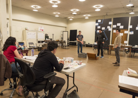 """L-R: Director Giovanna Sardelli, playwright Rajiv Joseph and cast members Josiah Bania, Ramiz Monsef and Stephen Stocking in rehearsal for the world premiere of Center Theatre Group's production of """"Archduke."""" Written by Joseph, """"Archduke"""" will play April 25 through June 4, 2017, at the Mark Taper Forum. For tickets and information, please visit CenterTheatreGroup.org or call (213) 628-2772. Media Contact: CTGMedia@ctgla.org / (213) 972-7376. Photo by Craig Schwartz."""