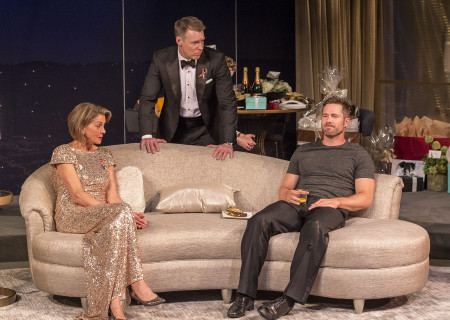 "L-R: Wendie Malick, Brian Hutchison and Luke Macfarlane in the world premiere of ""Big Night"" at Center Theatre Group's Kirk Douglas Theatre. Written by Paul Rudnick and directed by Walter Bobbie, ""Big Night"" continues through October 8, 2017. For tickets and information, please visit CenterTheatreGroup.org or call (213) 628-2772. Media Contact: CTGMedia@CTGLA.org / (213) 972-7376. Photo by Craig Schwartz."