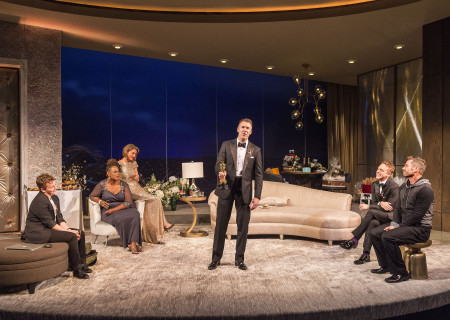 "L-R: Tom Phelan, Kecia Lewis, Wendie Malick, Brian Hutchison, Max Jenkins and Luke Macfarlane in the world premiere of ""Big Night"" at Center Theatre Group's Kirk Douglas Theatre. Written by Paul Rudnick and directed by Walter Bobbie, ""Big Night"" continues through October 8, 2017. For tickets and information, please visit CenterTheatreGroup.org or call (213) 628-2772. Media Contact: CTGMedia@CTGLA.org / (213) 972-7376. Photo by Craig Schwartz."