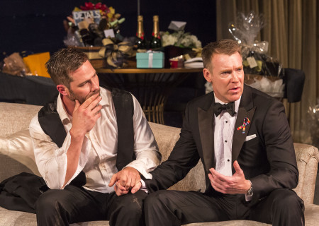 "L-R: Luke Macfarlane and Brian Hutchison in the world premiere of ""Big Night"" at Center Theatre Group's Kirk Douglas Theatre. Written by Paul Rudnick and directed by Walter Bobbie, ""Big Night"" continues through October 8, 2017. For tickets and information, please visit CenterTheatreGroup.org or call (213) 628-2772. Media Contact: CTGMedia@CTGLA.org / (213) 972-7376. Photo by Craig Schwartz."