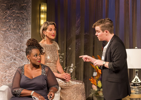 """L-R: Kecia Lewis, Wendie Malick and Tom Phelan in the world premiere of """"Big Night"""" at Center Theatre Group's Kirk Douglas Theatre. Written by Paul Rudnick and directed by Walter Bobbie, """"Big Night"""" continues through October 8, 2017. For tickets and information, please visit CenterTheatreGroup.org or call (213) 628-2772. Media Contact: CTGMedia@CTGLA.org / (213) 972-7376. Photo by Craig Schwartz."""