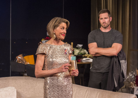 "Wendie Malick and Luke Macfarlane in the world premiere of ""Big Night"" at Center Theatre Group's Kirk Douglas Theatre. Written by Paul Rudnick and directed by Walter Bobbie, ""Big Night"" continues through October 8, 2017. For tickets and information, please visit CenterTheatreGroup.org or call (213) 628-2772. Media Contact: CTGMedia@CTGLA.org / (213) 972-7376. Photo by Craig Schwartz."
