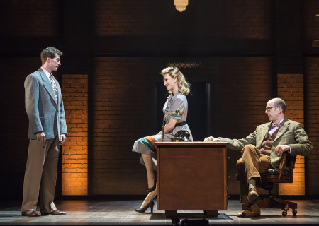 "L-R: A.J. Shively, Kaitlyn Davidson and Jeff Blumenkrantz in Steve Martin and Edie Brickell's ""Bright Star."" Directed by Walter Bobbie, ""Bright Star"" will be presented by Center Theatre Group at the Ahmanson Theatre through November 19, 2017. For tickets and information, please visit CenterTheatreGroup.org or call (213) 972-4400. Press Contact: CTGMedia@CTGLA.org / (213) 972-7376. Photo by Craig Schwartz."