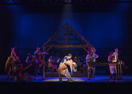 "L-R (center): Jeff Blumenkrantz, A.J. Shively and Kaitlyn Davidson with the cast of Steve Martin and Edie Brickell's ""Bright Star."" Directed by Walter Bobbie, ""Bright Star"" will be presented by Center Theatre Group at the Ahmanson Theatre through November 19, 2017. For tickets and information, please visit CenterTheatreGroup.org or call (213) 972-4400. Press Contact: CTGMedia@CTGLA.org / (213) 972-7376. Photo by Craig Schwartz."