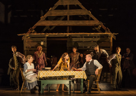 "L-R (center): Allison Briner-Dardenne, Carmen Cusack and Stephen Lee Anderson with the cast of Steve Martin and Edie Brickell's ""Bright Star."" Directed by Walter Bobbie, ""Bright Star"" will be presented by Center Theatre Group at the Ahmanson Theatre through November 19, 2017. For tickets and information, please visit CenterTheatreGroup.org or call (213) 972-4400. Press Contact: CTGMedia@CTGLA.org / (213) 972-7376. Photo by Craig Schwartz."