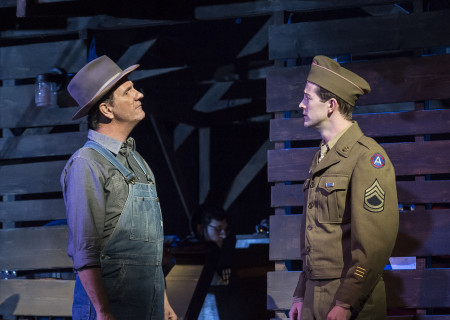 "L-R: David Atkinson and A.J. Shively in Steve Martin and Edie Brickell's ""Bright Star."" Directed by Walter Bobbie, ""Bright Star"" will be presented by Center Theatre Group at the Ahmanson Theatre through November 19, 2017. For tickets and information, please visit CenterTheatreGroup.org or call (213) 972-4400. Press Contact: CTGMedia@CTGLA.org / (213) 972-7376. Photo by Craig Schwartz."